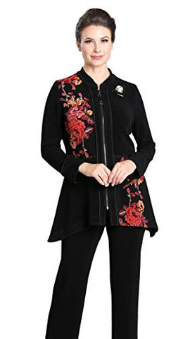 IC Collection Oriental Floral Zip Front Closure Cuffed Sleeves Asian Style Fashion Jacket