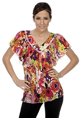 Cathaya Blouse, Pleated Geometric Floral Print with a Wide V-Neck Ruffled
