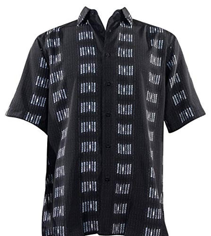 Bassiri - White Cubes, Button Front Short Sleeve Square Hem Black Casual Shirt