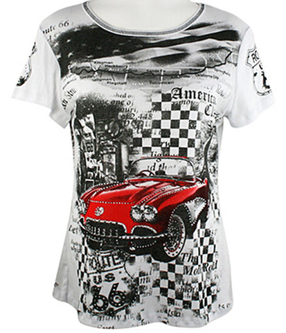 Big Bang Clothing Company - Route 66 Red Car, Scoop Neck Rhinestone Print Top