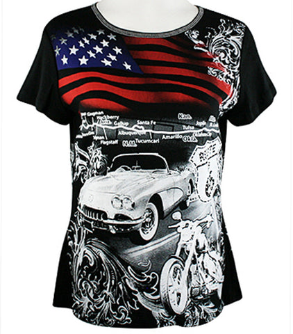Big Bang Clothing Company - Route 66 Flag, Cap Sleeve, Rhinestone Print Top