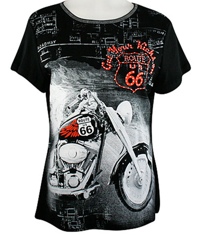 Big Bang Clothing Company Route 66 Motorcycle, Scoop Neck Rhinestone Print Top