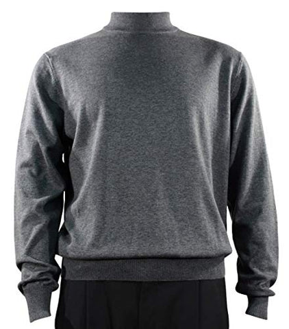 Bassiri Mock Neck, Full Cut, Long Sleeve. Knit Men's Dark Grey Sweater