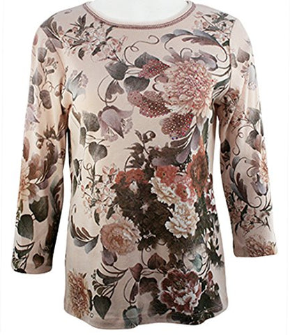 Cactus Fashion - Spring Oriental, 3/4 Sleeve Scoop Neck Rhinestone Accented Top