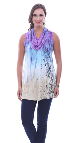 Parsley & Sage Violet, Sleeveless Cowl Neck Fancy Tunic In an Abstract Pattern