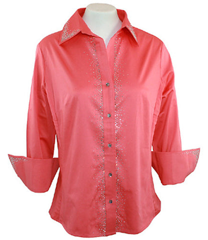 Christine Alexander - Coral Crystal Splash Blouse with Swarovski Crystal Accents