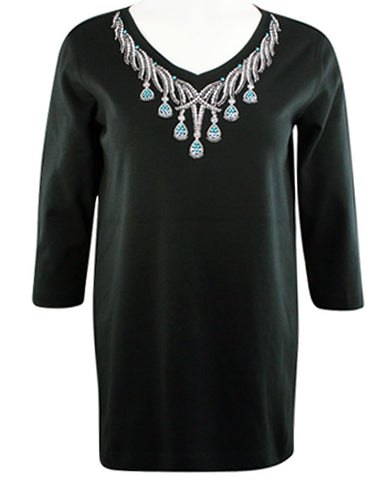 Christine Alexander - Turquoise Tear Drop, V-Neck Top Swarovski Crystal Accents