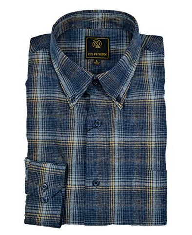 FX Fusion Navy Gold Grid Flannel Long Sleeve Men's Shirt with Button Down Collar