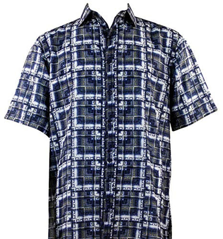 Bassiri Multi Squares Short Sleeve Square Hem Blue & White Geometric Print Shirt