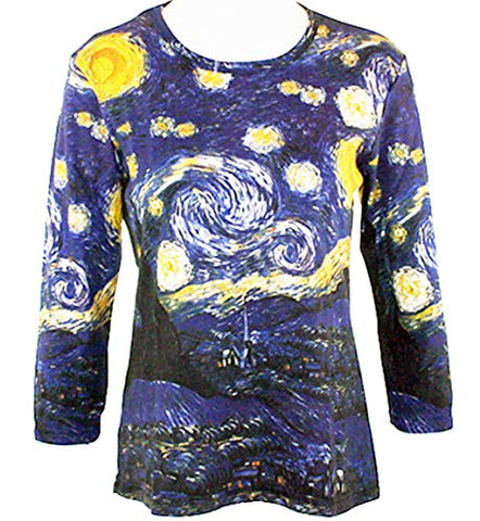 Van Gogh Starry Night, Scoop Neck 3/4 Sleeve Hand Silk-Screened Art Top