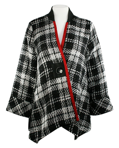 Moonlight - Black & White Plaid Asian Style Jacket with Red Stripe Accent