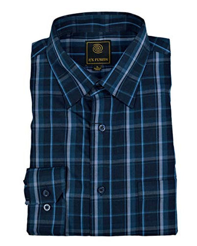 FX Fusion Blue Black Multi Plaid Men's Shirt with Under Collar Hold Down Buttons