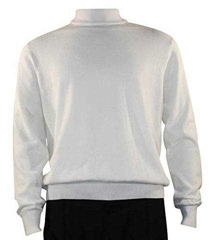 Bassiri Mock Neck, Full Cut, Long Sleeve. Knit Men's White Sweater