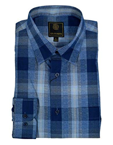 FX Fusion Blue Ombre Plaid Men's Shirt with Under Collar Hold Down Buttons