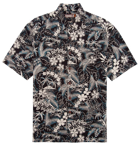 Kahala Sportswear Blue Lagoon, Relaxed Fit, Matched Pocket Hawaiian Shirt