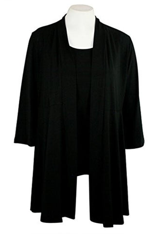 Caribe - Black Trimmed, Long Sleeve Jacket - Duster