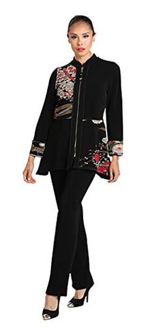 IC Collection Oriental Floral Zip Front Closure Trimmed Sleeve Asian Style Jacket