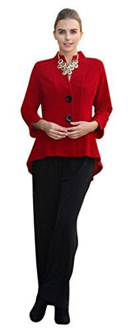 IC Collection Two Button Mandarin Collar 3/4 Sleeve Asian Style Red Jacket