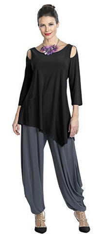IC Collection Asymmetric Hem, Cold Shoulder, Contemporary Styled Black Top