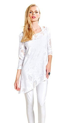 Clara Sun Woo Illusion, 3/4 Sleeve Eyelet Racer Back Asymmetric White Knit Tunic