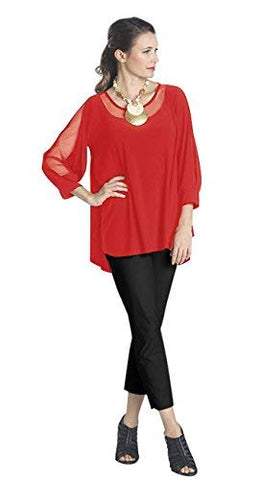 IC Collection High Low Hem Sheer Sleeves & Collar Contemporary Styled Red Top