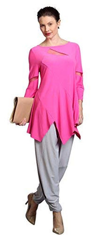 IC Collection Diamond Hem Sheer Sleeves & Collar Contemporary Styled Pink Top
