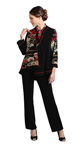 IC Collection Asian Floral Single Button Closure Asymmetric Hem Red Trim Jacket