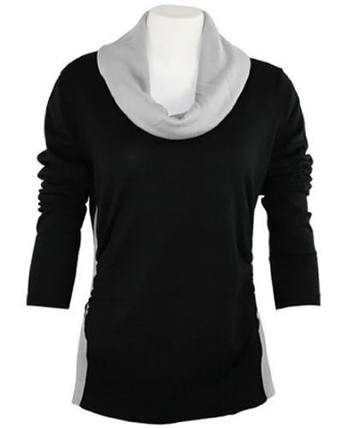 FX Fusion Knits - Black & Silver Top Ribbed Sides & Two Tone Color Block