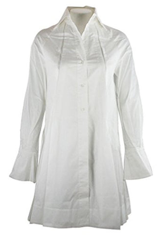 Ravel Fashion Flared Sleeves Spread Neck Collar on an Extra Long White Tunic Top