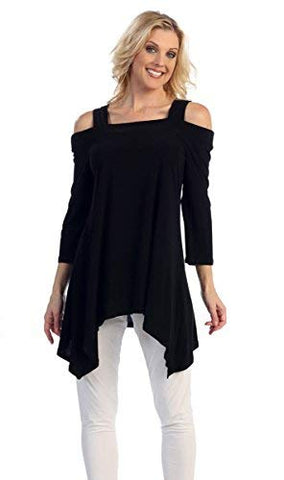 Caribe - Ebony Delight, Sharkbite Hem, 3/4 Sleeve, Cold Shoulder Black Tunic Top