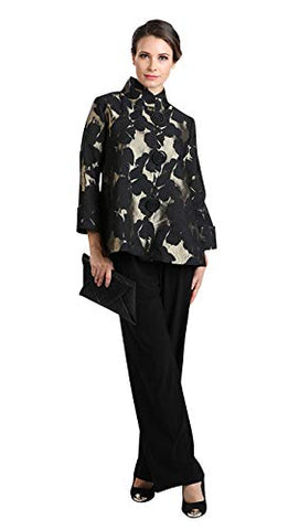 IC Collection Falling Leaves Split Cuffs Sheer Cutout Sleeves Lightweight Jacket