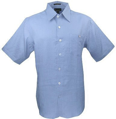 Luau Cove Sportswear Colored Short Sleeve, Men's Casual Sky Blue Shirt