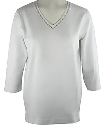 Christine Alexander 3/4 Slv, V-Neck Top With Swarovski Crystals - Crystal Lines