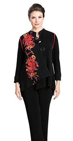 IC Collection Asian Floral Button Closure Asymmetric Hem Red Piping Contemporary Jacket