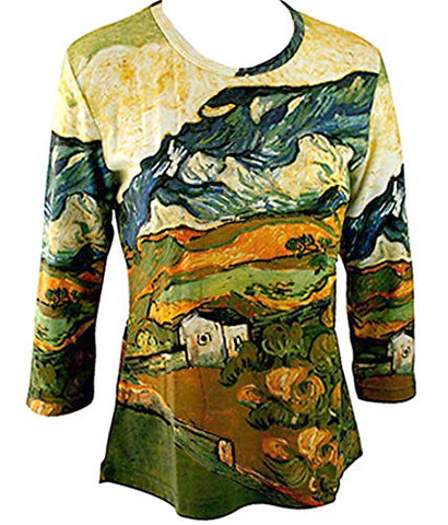 Van Gogh Les Alpilles Mountain, 3/4 Sleeve Hand Silk-Screened Art Novelty Top