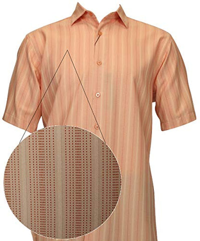 Bassiri - Button Front, Short Sleeve, Square Hem, Peach Striped, Casual Men's Shirt