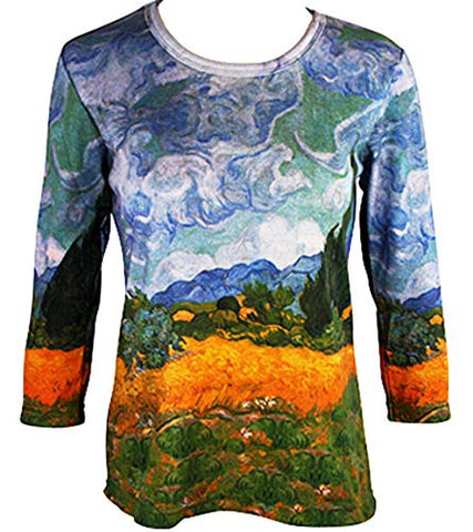 Van Gogh Cypress Tree, 3/4 Sleeve Scoop Neck Hand Silk-Screened Art Top
