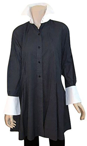 Ravel Fashion Flared Cuffed Sleeve Button Front on Extra Long Black Tunic Top