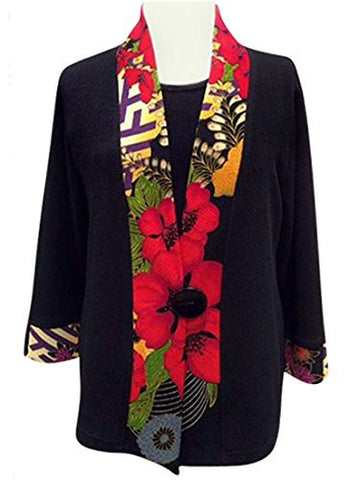 Moonlight - Three Flowers, Kimono Jacket Floral Print Accented Collar & Sleeves