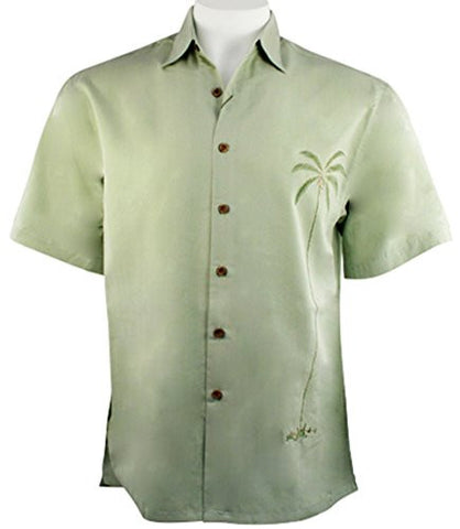 Bamboo Cay - Single Palm, Embroidered Tropical Style Palm Color Button Shirt