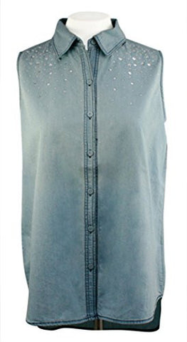 Christine Alexander - Scattered Squares, Chambray Shirt with Swarovski Crystals