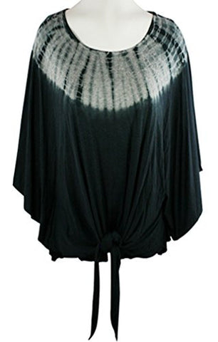 Gypsy Daisy Scoop Neck Tie Front Poncho Top with Tie Dye Geometric Designs