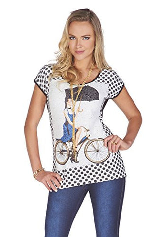 Tricotto - Bicycling in the Rain, Short Sleeve Top Polka Dots & Rhinestone Accents