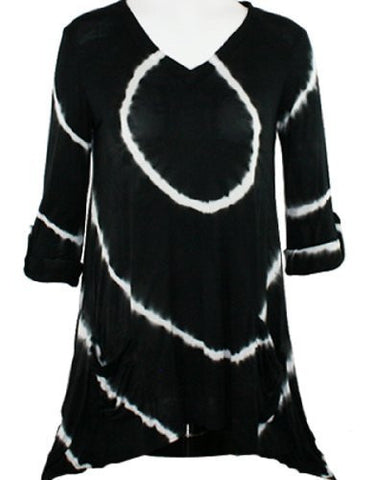 Boho Chic - All Connected, V-Neck, Shark Bite Hem with Front Pockets Tunic Top