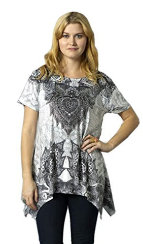 Bacci Clothing - Vivian, Rhinestones, Sublimation, Short Sleeve Scoop Neck Top