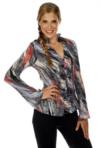 Cathaya Pleated Geometric Print, Flared Long Sleeve Blouse with a Ruffled Front Mock