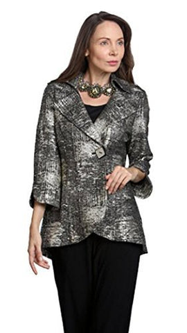 IC Collection Patterned Single Button Closure Contemporary Asian Styled Jacket