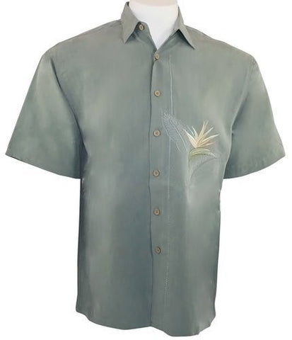 Bamboo Cay - Single Palm, Men's Tropical Style Shirt Background Embroidered Ocean