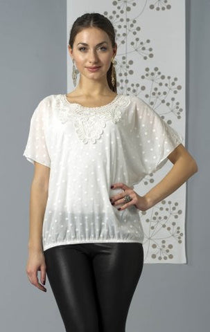 Bacci Clothing - Lace Chiffon Blouse, Short Sleeve Scoop Neck, Knitted Accents