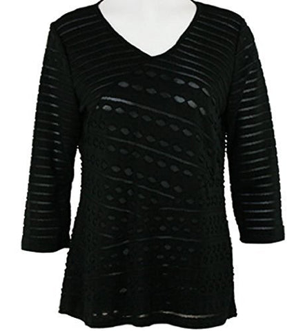 Cubism Diagonal Eyelet Top , Black Shear Print with Burn Outs